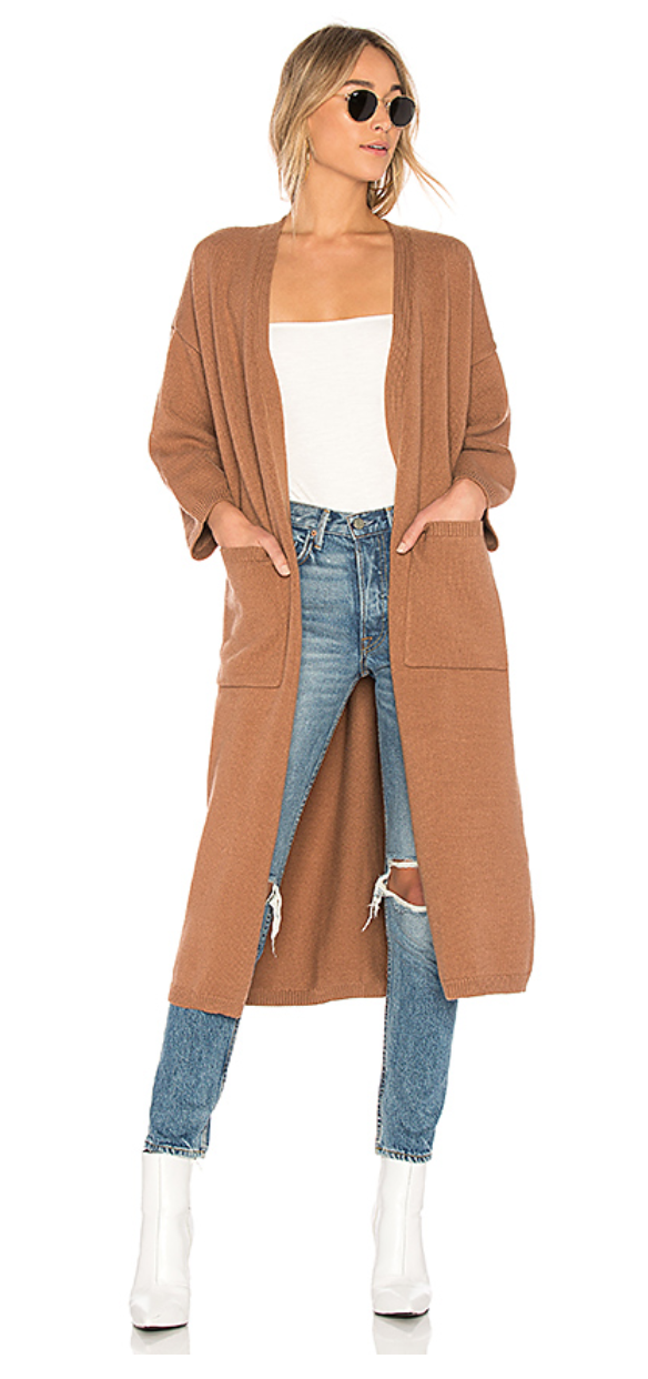 LOVERS + FRIENDS RELAXIN SWEATER CARDIGAN IN CAMEL