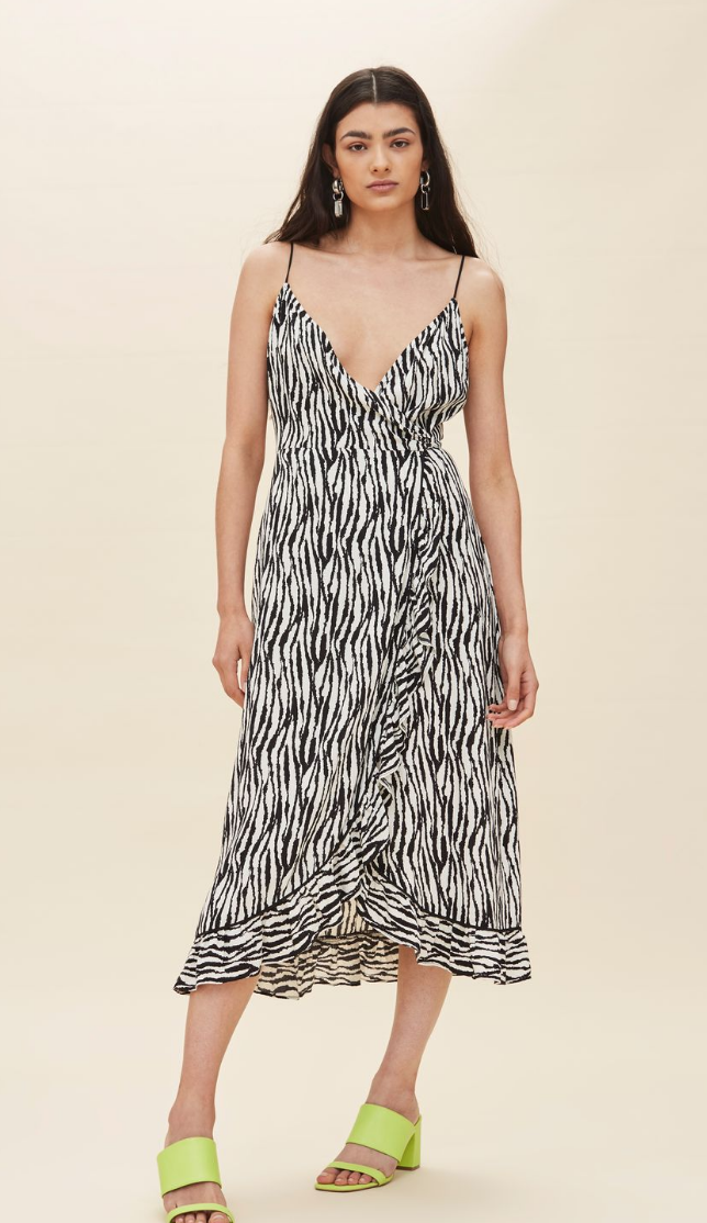 ZEBRA RUFFLE SLIP DRESS