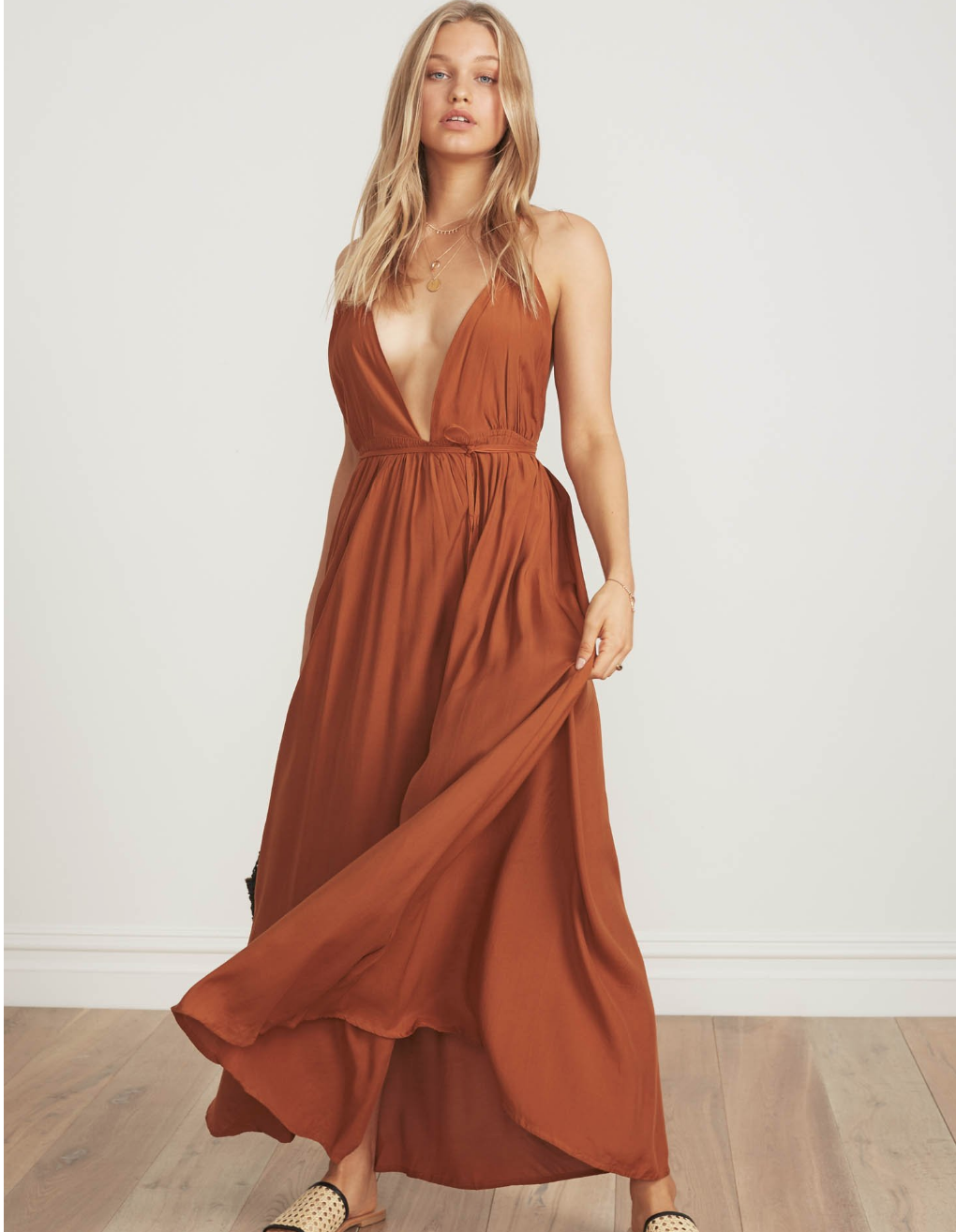 FAITHFULL THE BRAND SANTA ROSA MAXI IN PLAIN BURNT SIENNA
