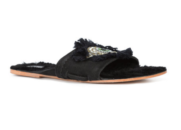 FIGUE FRINGED EVIL EYE FLAT FUR SLIDE SANDAL