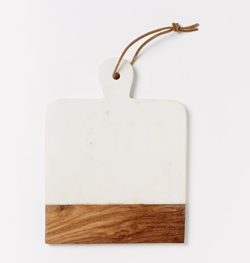MARBLE + WOOD CUTTING BOARD, RECTANGLE