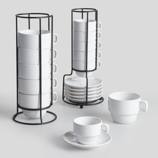WHITE STACKING CUPS SET OF 6