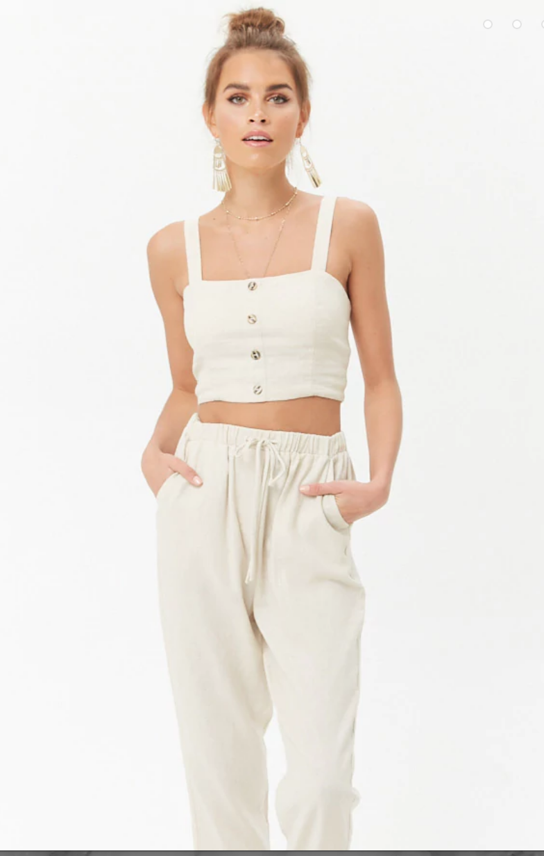 Linen-Blend Mock Button Top