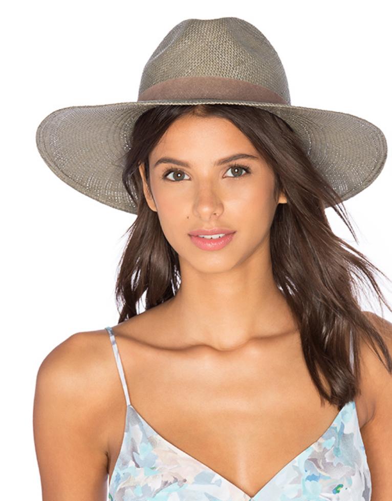 JANESSA LEONE ANGELICA WIDE BRIMMED PANAMA HAT IN SILVER SAGE