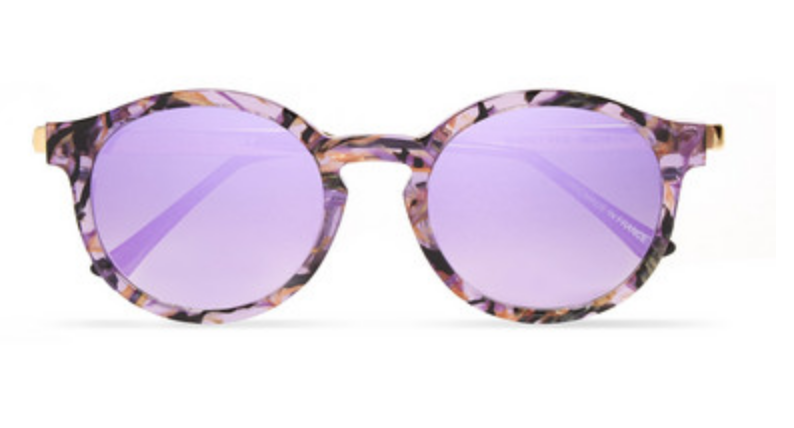 THIERRY LASRY - SILENTY V113 ROUND-FRAME ACETATE AND GOLD-TONE SUNGLASSES - PURPLE