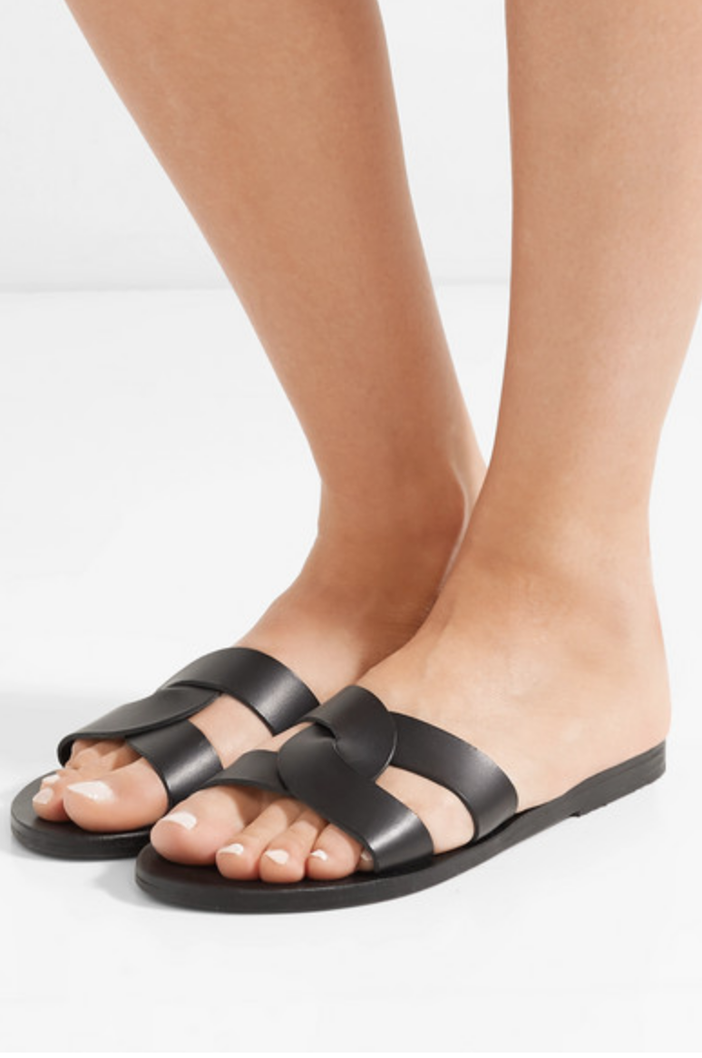 ANCIENT GREEK SANDALS - DESMOS CUTOUT LEATHER SLIDES - BLACK