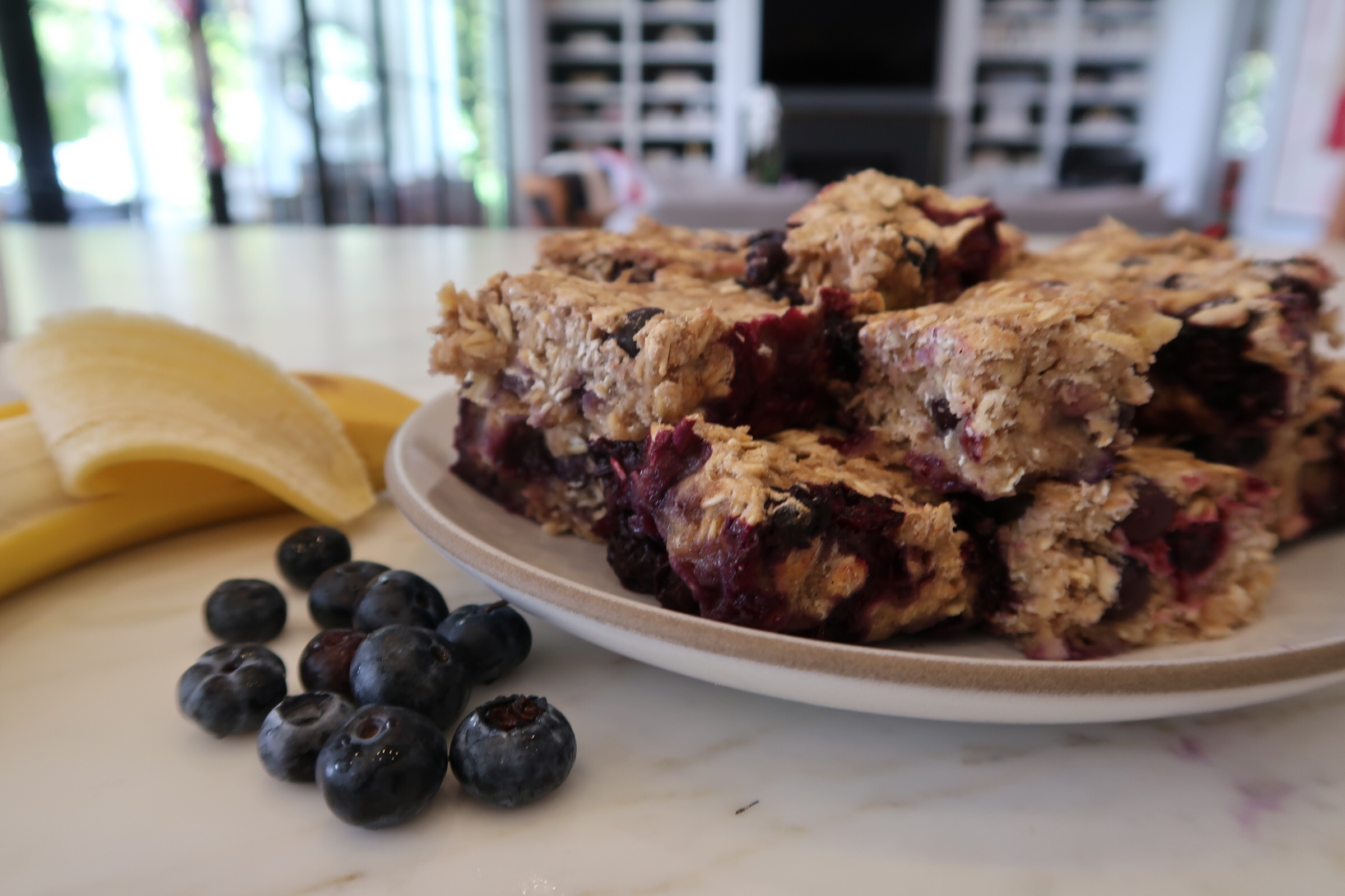 Blueberry Banana Breakfast Bars For Kiddos