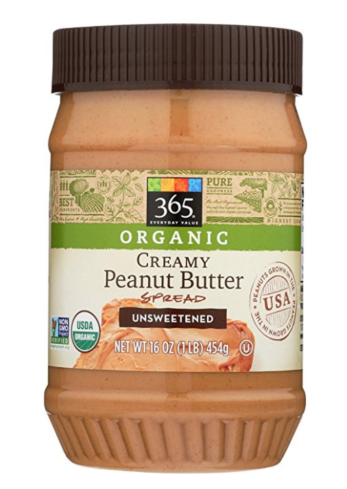 AMAZON.COM : 365 EVERYDAY VALUE, ORGANIC CREAMY PEANUT BUTTER SPREAD UNSWEETENED, 16 OZ : GROCERY & GOURMET FOOD