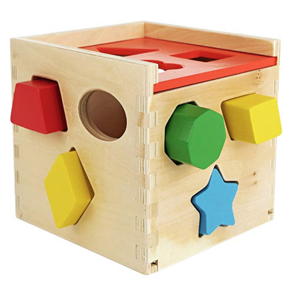COLORFUL SHAPE SORTING PUZZLE CUBE - SOLID WOOD TOY WITH 12 SHAPES - EDUCATIONAL BABY TOY FOR TODDLE