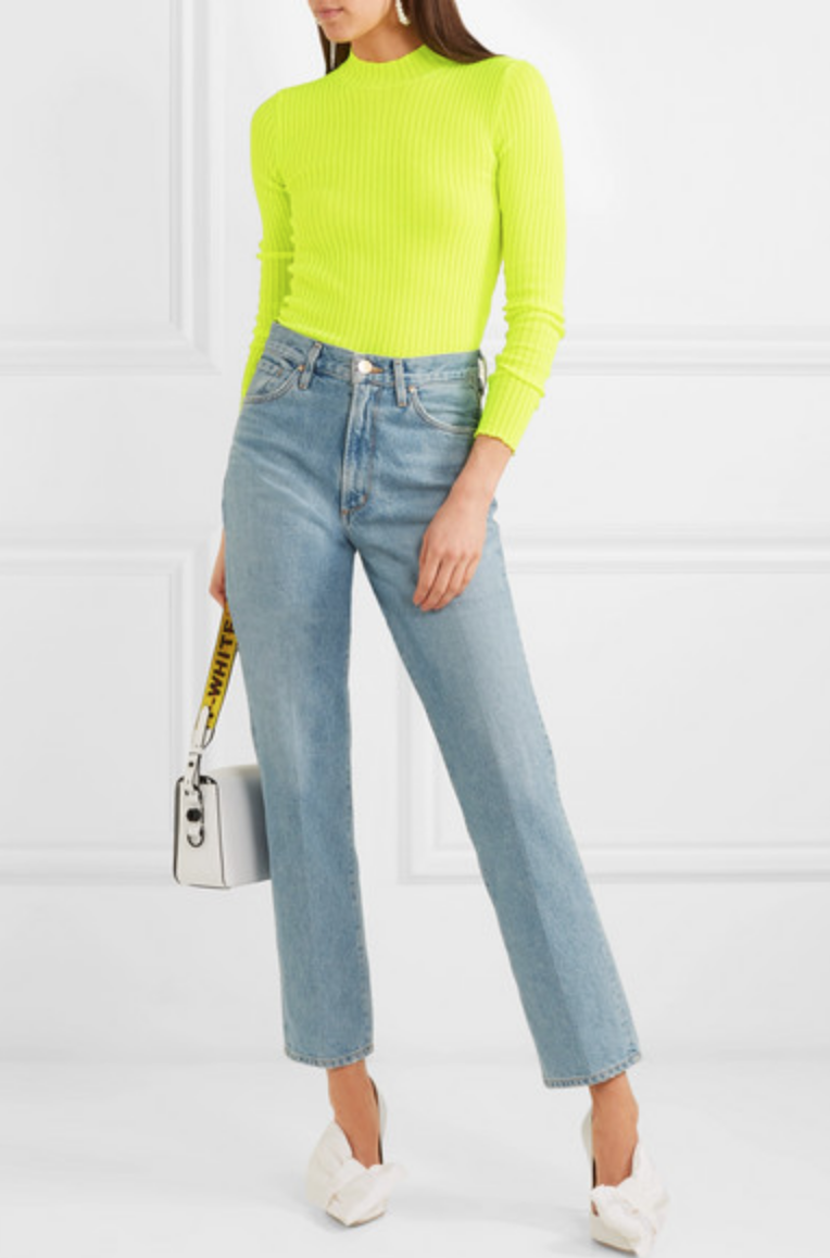 MSGM - RIBBED-KNIT TURTLENECK SWEATER - CHARTREUSE