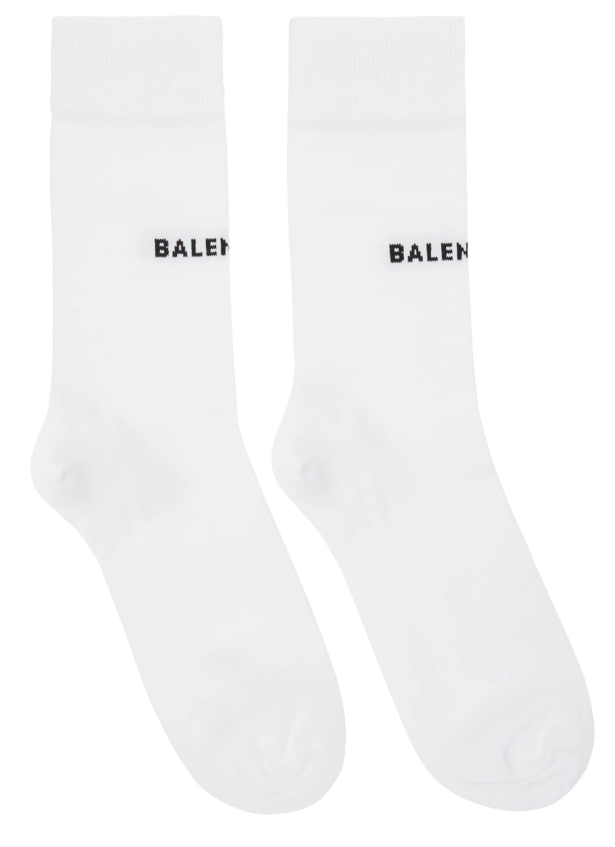 BALENCIAGA - WHITE TIGHT LOGO SOCKS