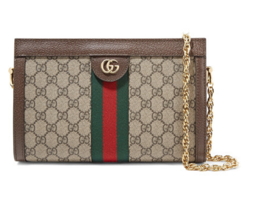 GUCCI - OPHIDIA TEXTURED LEATHER-TRIMMED PRINTED COATED-CANVAS SHOULDER BAG - BEIGE