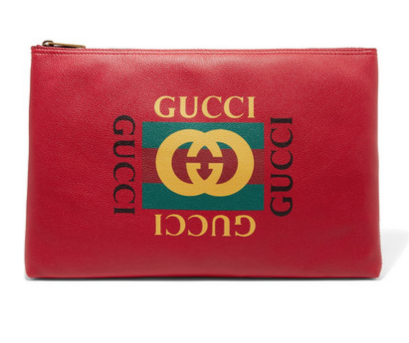 GUCCI - PRINTED TEXTURED-LEATHER POUCH