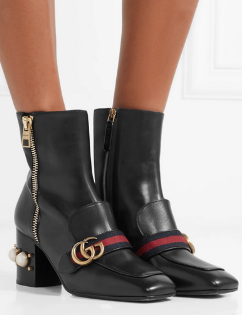 MARMONT LOGO AND FAUX PEARL-EMBELLISHED LEATHER ANKLE BOOTS
