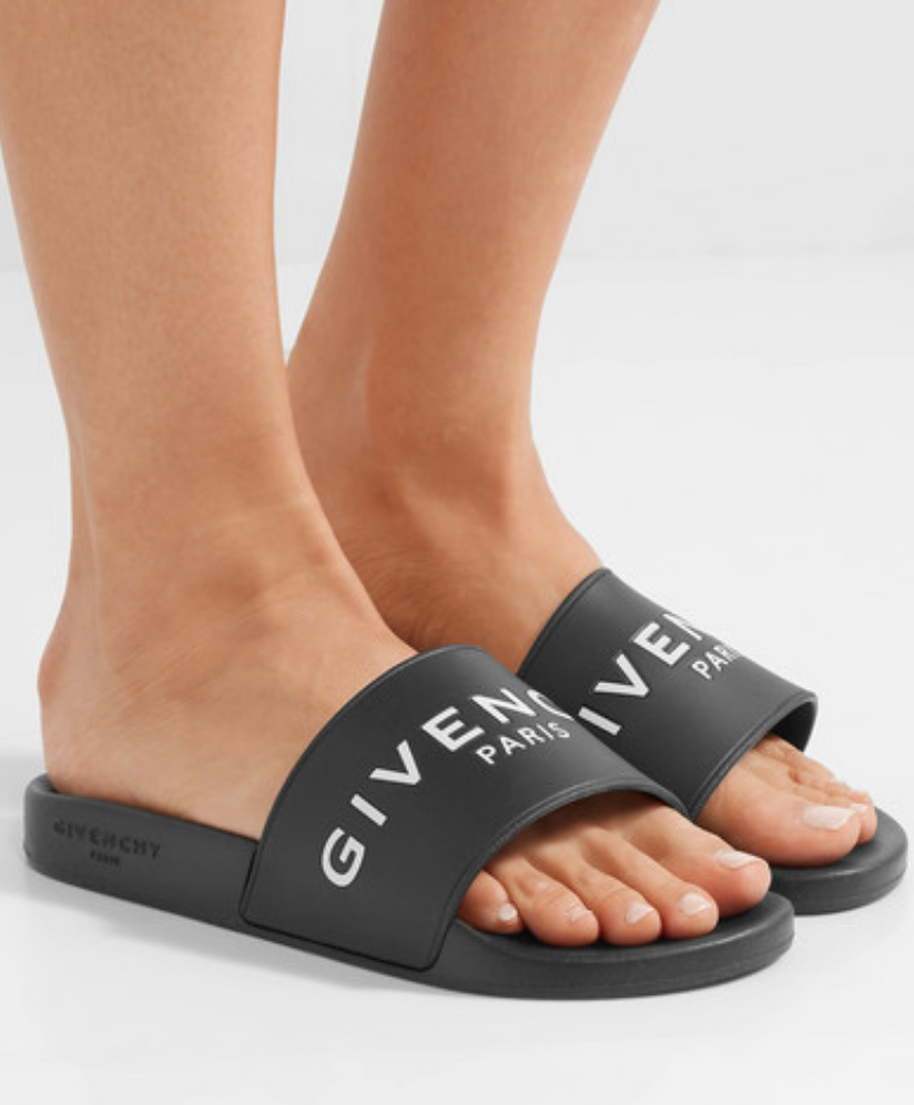 GIVENCHY - LOGO-PRINT RUBBER SLIDES - BLACK