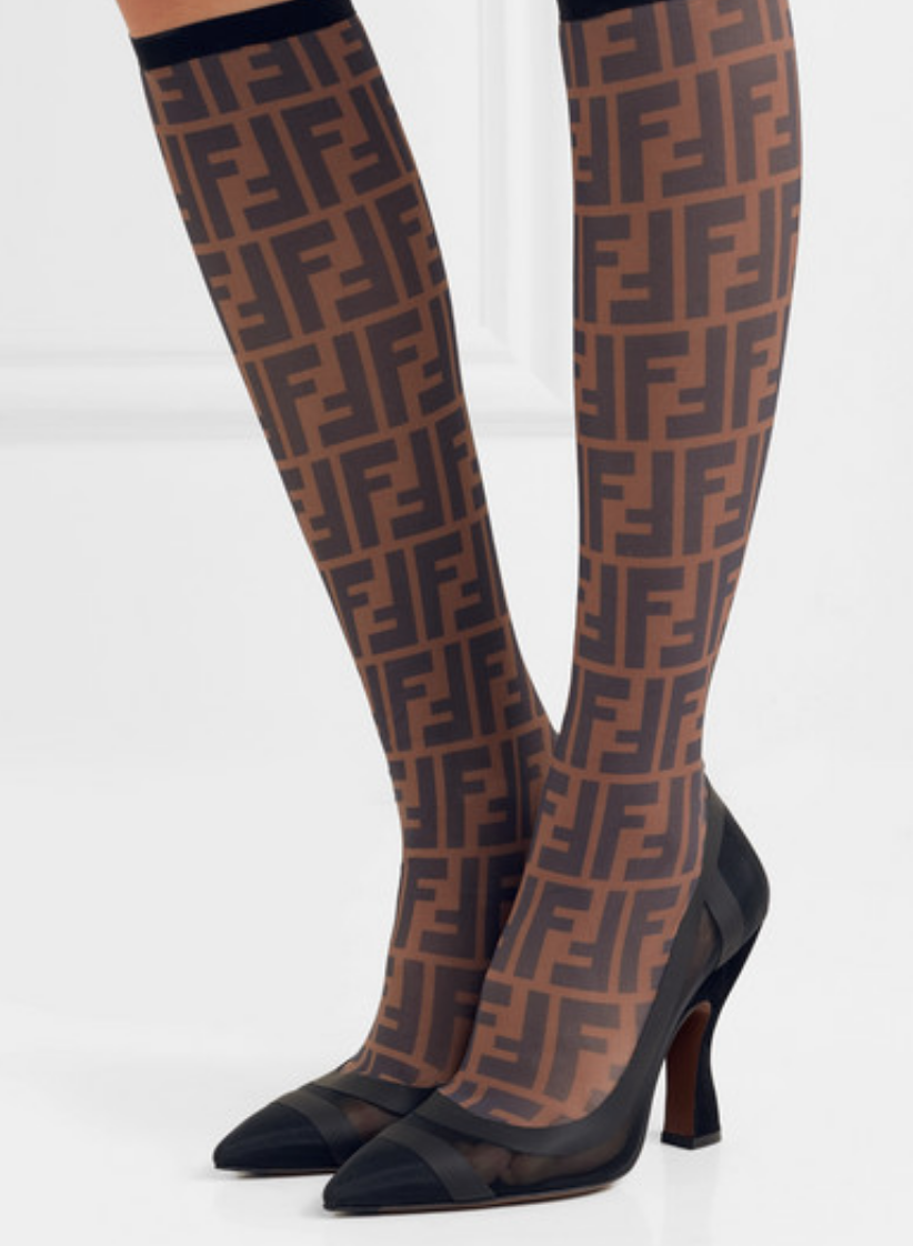LOGO-PRINT MESH AND RUBBER SOCK KNEE BOOTS