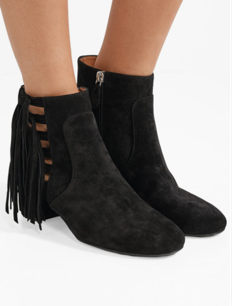 LAURENCE DACADE - ROXTER TASSELED SUEDE ANKLE BOOTS - BLACK