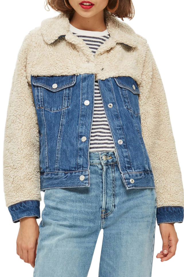 TOPSHOP HYBRID DENIM BORG JACKET
