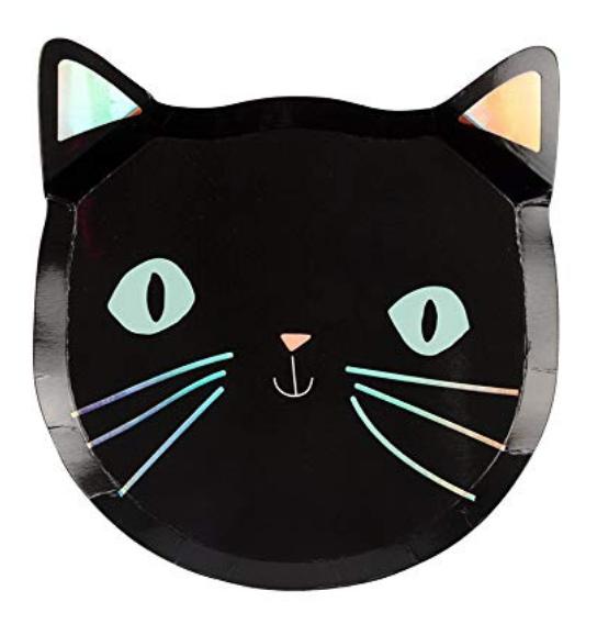 MERI MERI SPOOKY BLACK CAT PLATES
