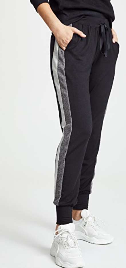 BLACK STRIPED SIDE JOGGERS