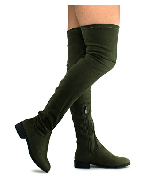 SHOBEAUTIFUL WOMEN'S THIGH HIGH FLAT BOOTS STRETCHY PULL ON CASUAL BOOTS BY (TM)