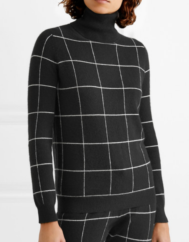 IDA CHECKED CASHMERE TURTLENECK SWEATER