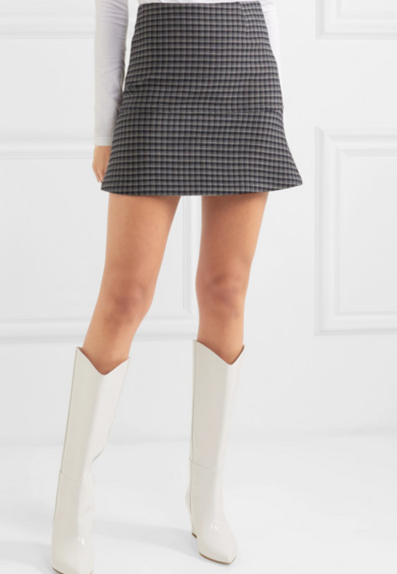 FLUTED CHECKED CREPE MINI SKIRT