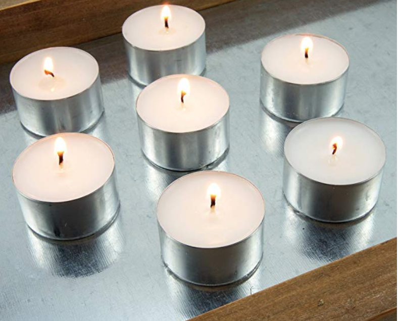 LONG BURNING UNSCENTED TEA LIGHT CANDLES, 8 HOUR EXTENDED BURN TIME, WHITE, 50 PACK