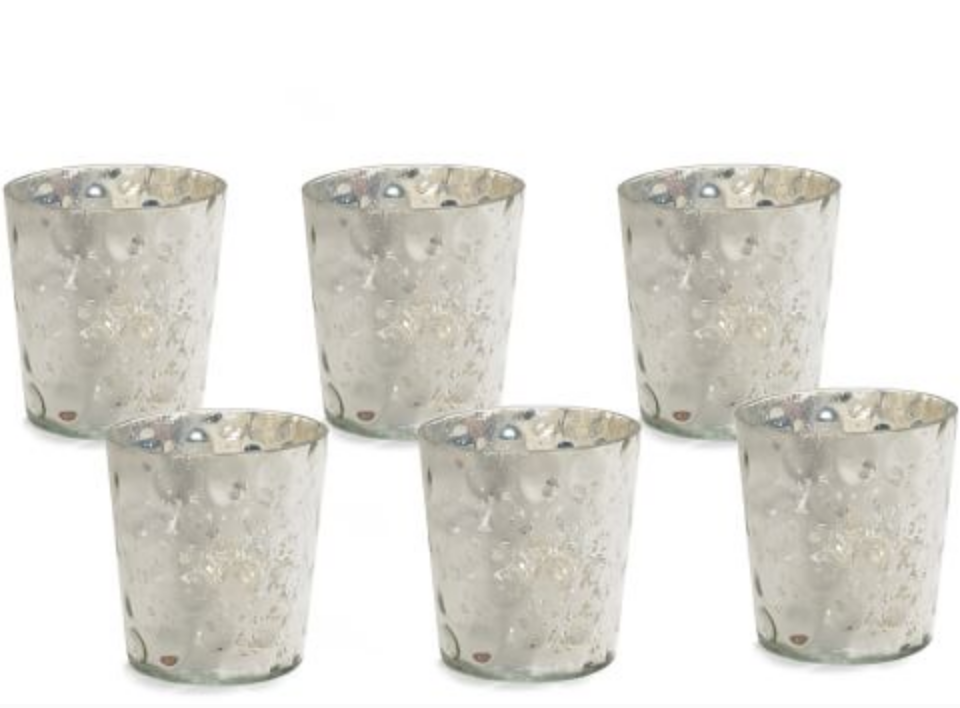 MERCURY GLASS CANDLE HOLDER, SET OF 6, BUBBLE, SILVER