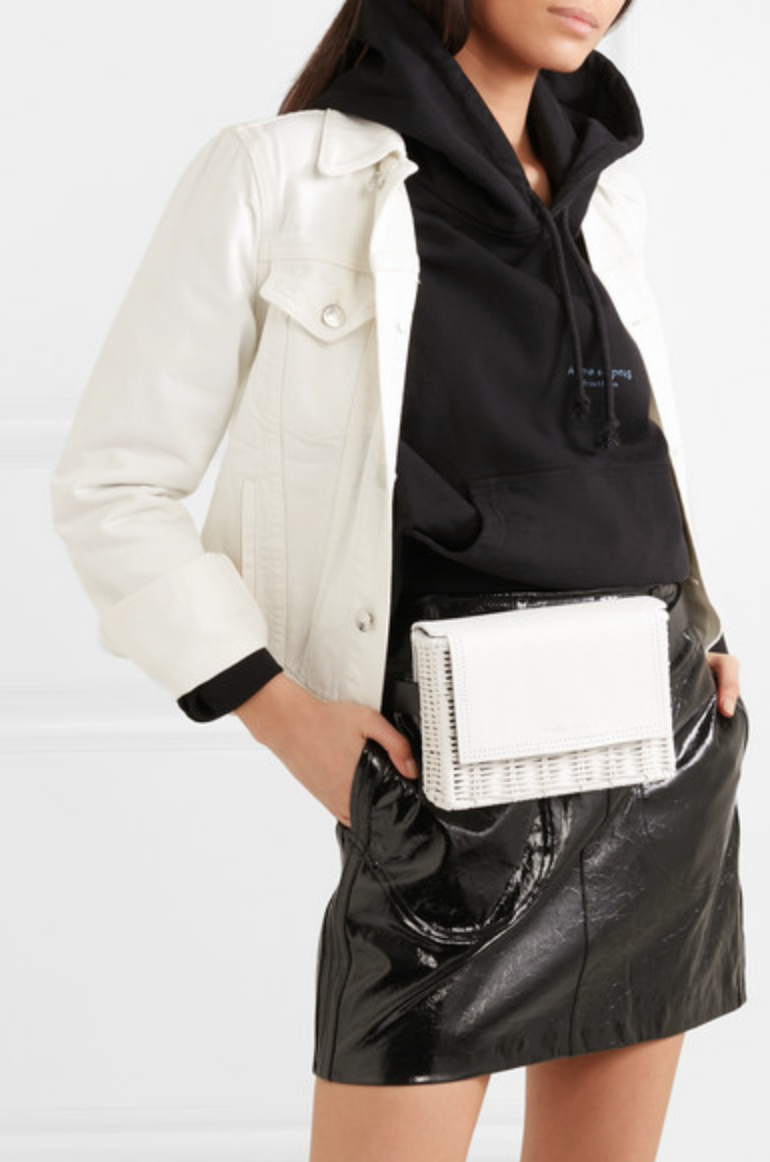 WICKER WINGS - TAO RATTAN AND LEATHER BELT BAG - WHITE
