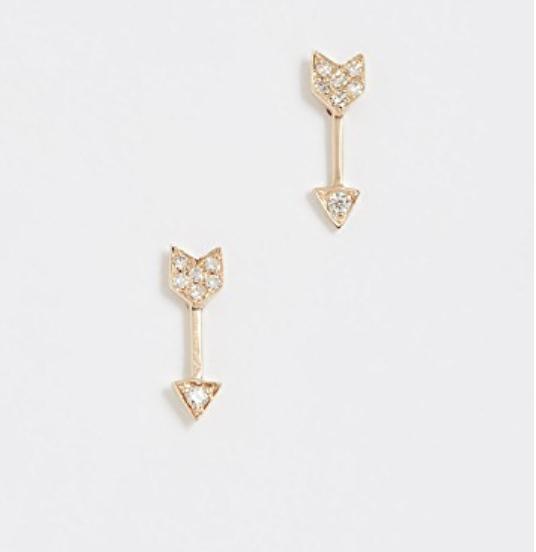 14K GOLD DIAMOND MINI ARROW STUD EARRINGS