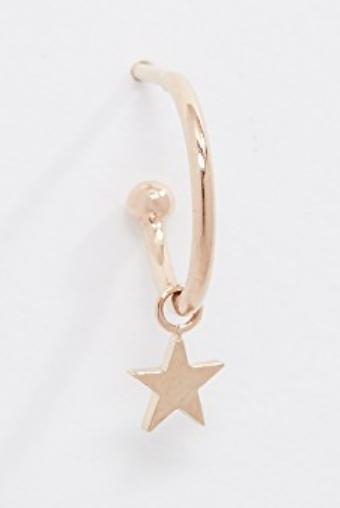 14K GOLD STAR HUGGIE HOOP EARRING