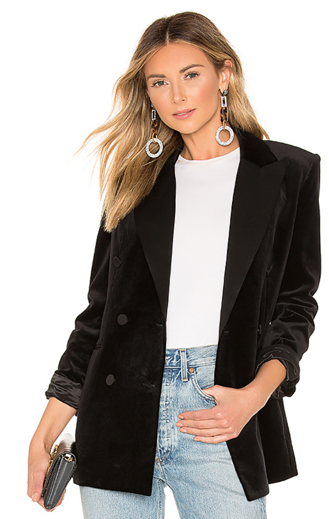 THEORY STRETCH VELVET TUXEDO JACKET IN BLACK