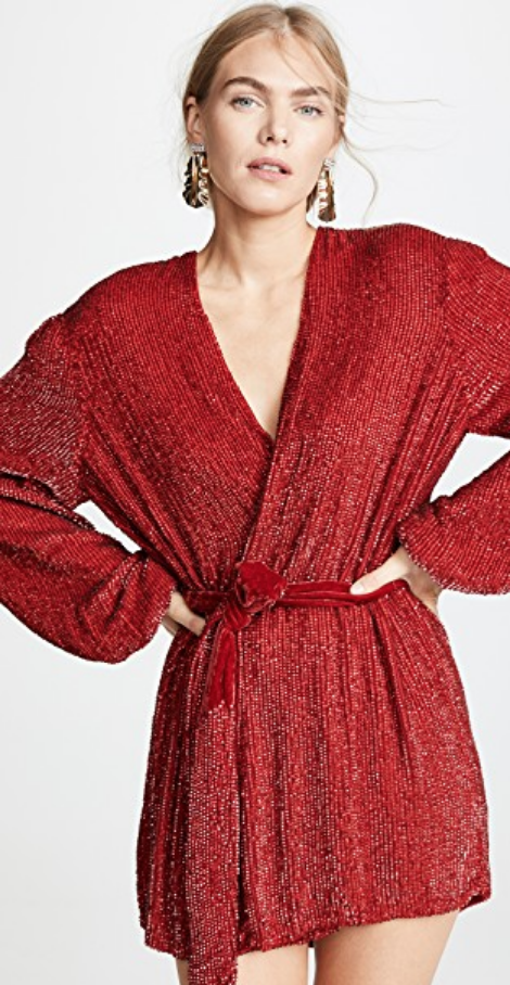 GABRIELLE SEQUINED ROBE DRESS