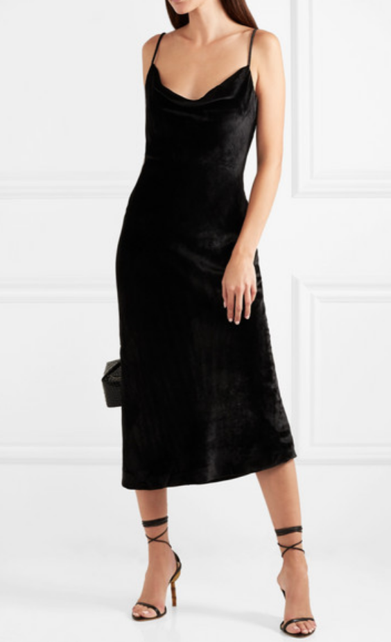 REBECCA VALLANCE - KARA VELVET MIDI DRESS - BLACK