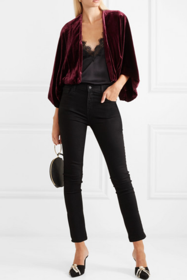 ALICE OLIVIA - DONNIE VELVET JACKET - PURPLE