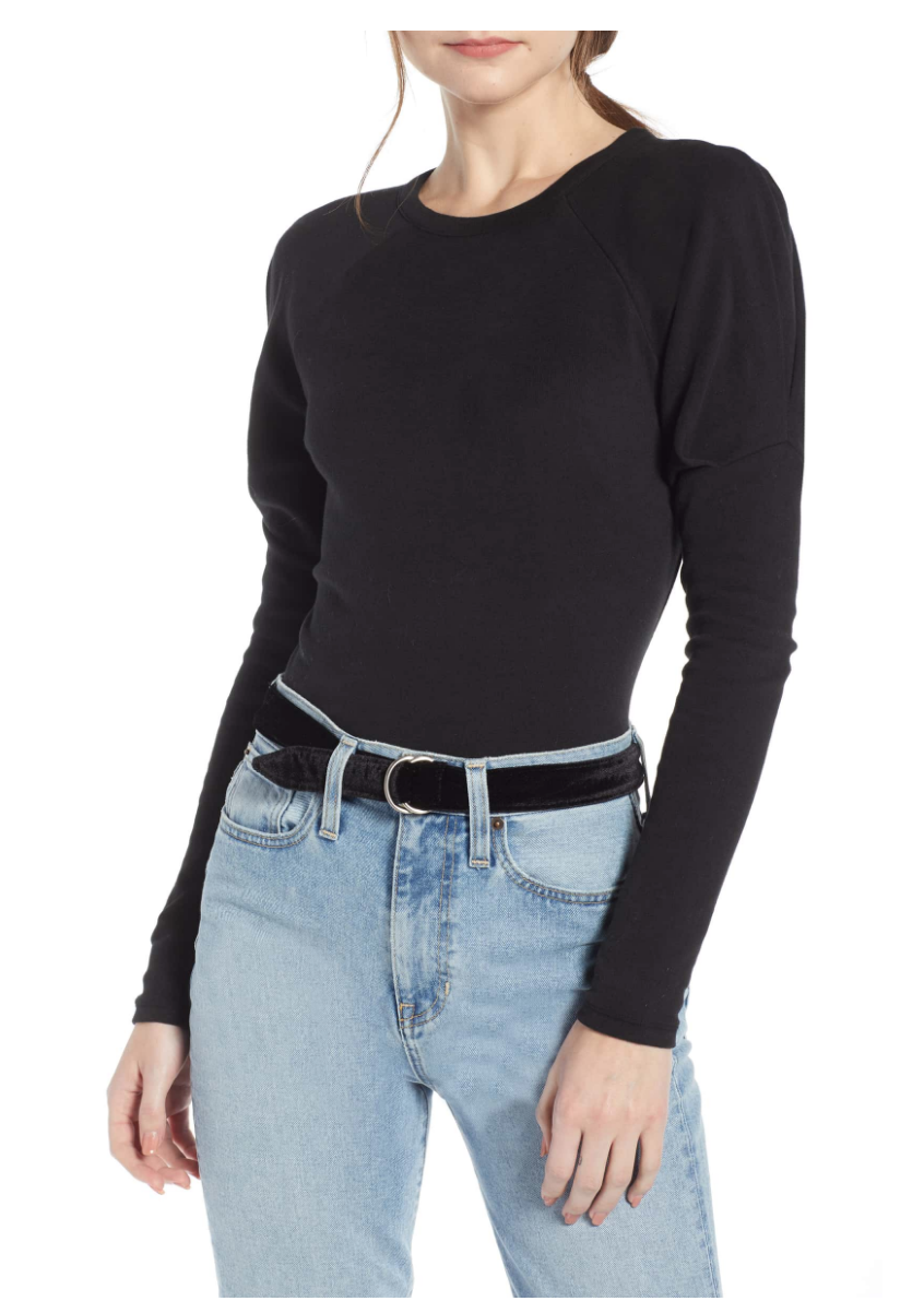 SOMETHING NAVY PUFF SLEEVE STRETCH COTTON TEE (NORDSTROM EXCLUSIVE)