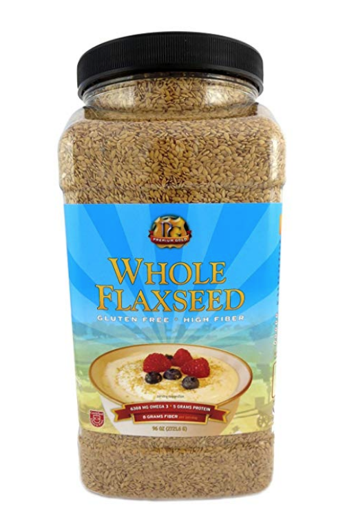 PREMIUM GOLD WHOLE FLAX SEED | HIGH FIBER FOOD | OMEGA 3 | 96OZ