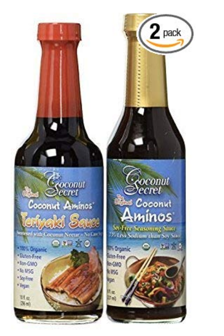 COCONUT SECRET COCONUT AMINOS - TERIYAKI SAUCE & AMINOS SAUCE - PACK OF 2