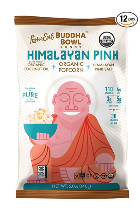 LESSEREVIL BUDDHA BOWL ORGANIC POPCORN, HIMALAYAN PINK, 5.0 OUNCE (PACK OF 12)
