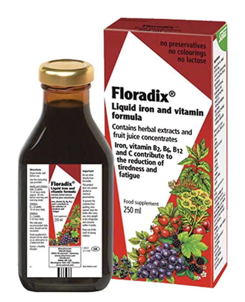 FLORADIX LIQUID IRON + HERBS SUPPLEMENT 8.5 OZ - ALL NATURAL, VEGETARIAN, VITAMIN C, NON CONSTIPA...