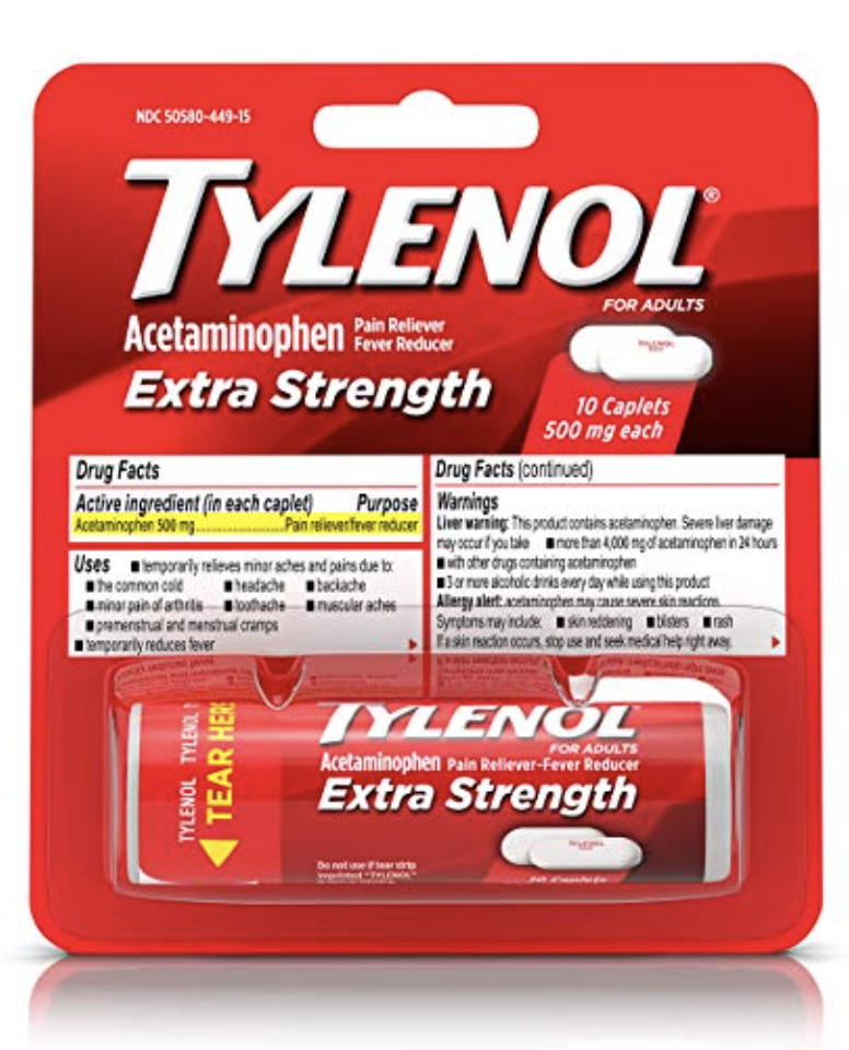 TYLENOL EXTRA STRENGTH PAIN RELIEVER CAPLETS, TRAVEL SIZE MEDICINE WITH ACETAMINOPHEN 500 MG FOR ...