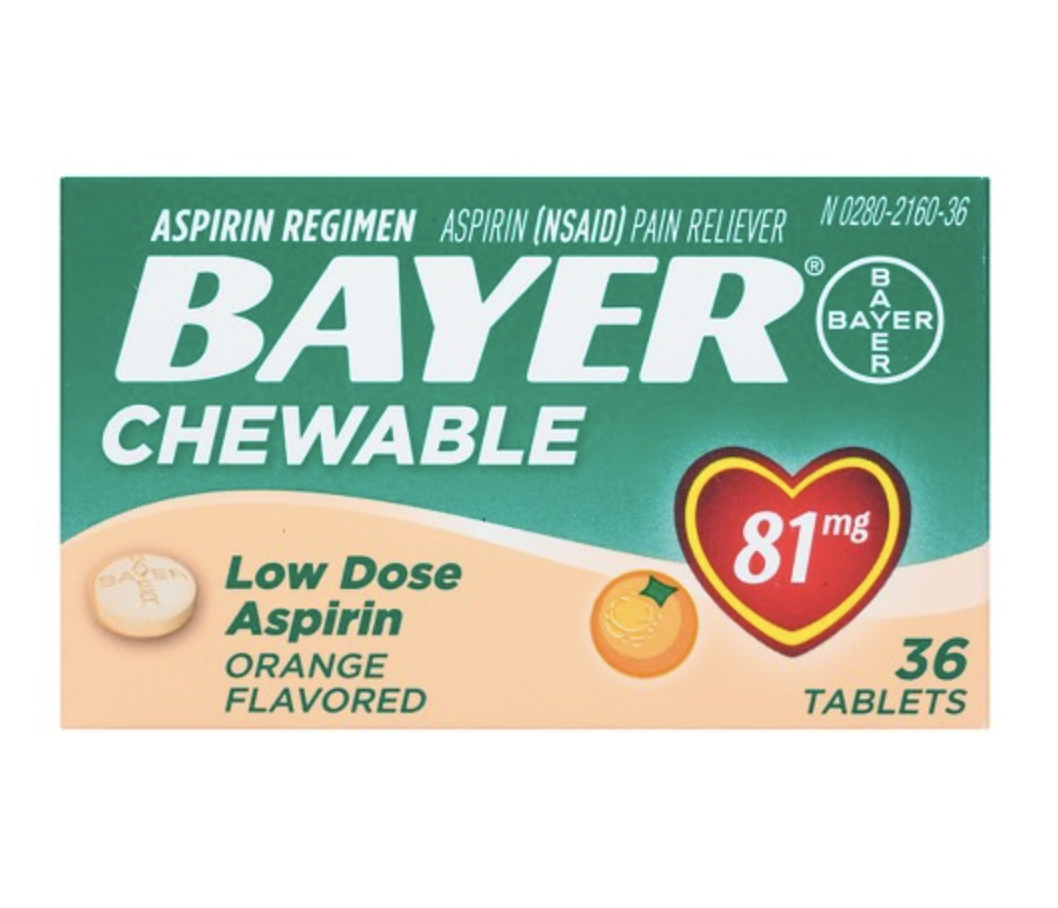 BAYER LOW DOSE PAIN RELIEVER CHEWABLE TABLETS - ASPIRIN (NSAID) - ORANGE FLAVOR