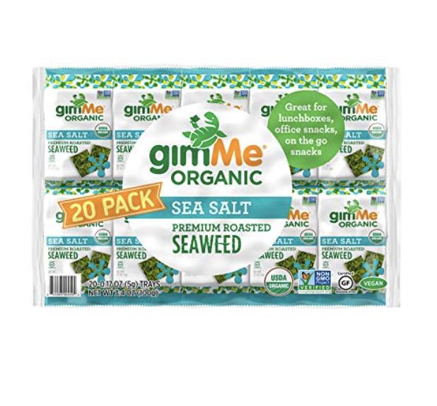 GIMME SNACKS - ORGANIC ROASTED SEAWEED - SEA SALT - (.17OZ) - (PACK OF 20) - NON GMO, GLUTEN FREE...
