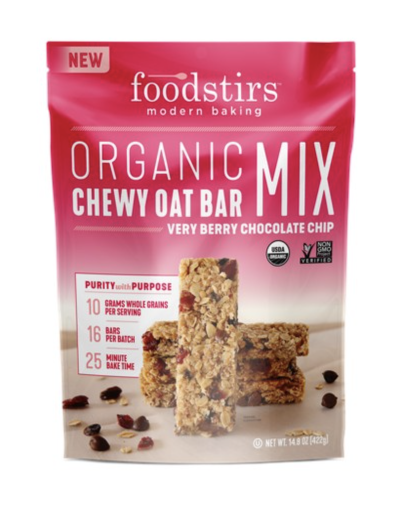 FOODSTIRS ORGANIC VERY BERRY CHOCOLATE CHIP CHEWY OAT BAR MIX - 14.8OZ