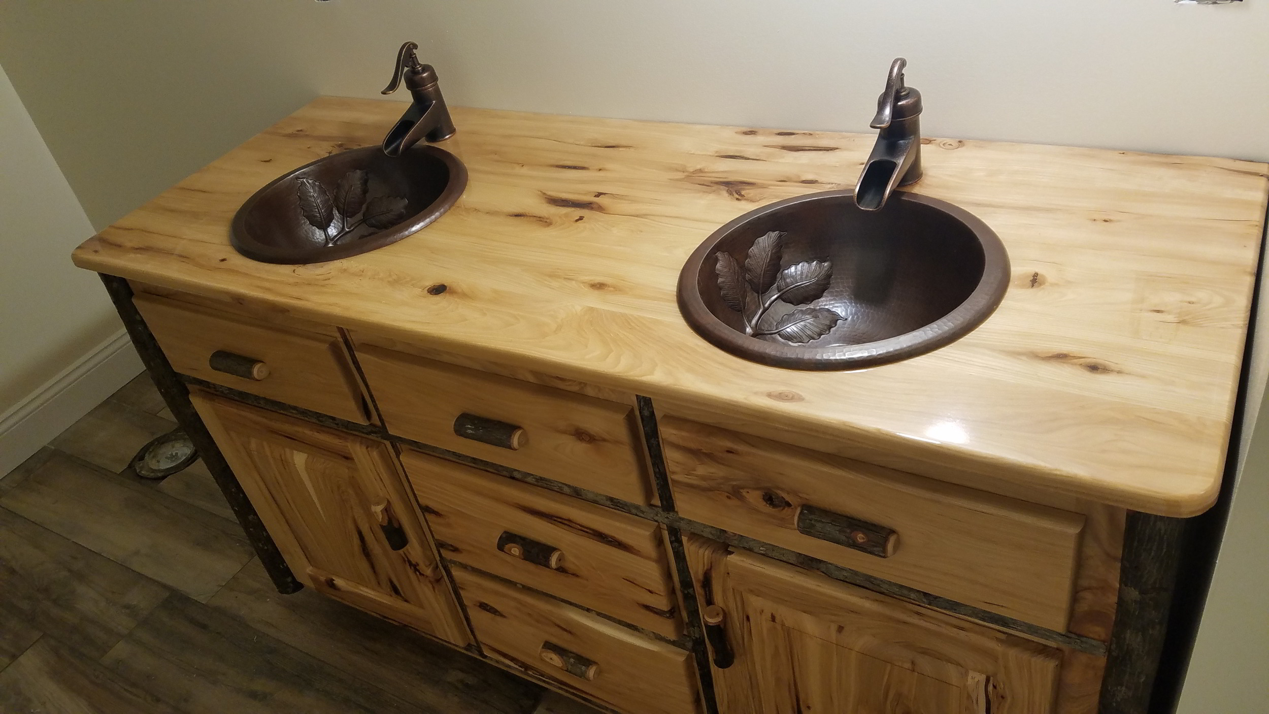 Copy of Hickory Vanity with Liquid Glass