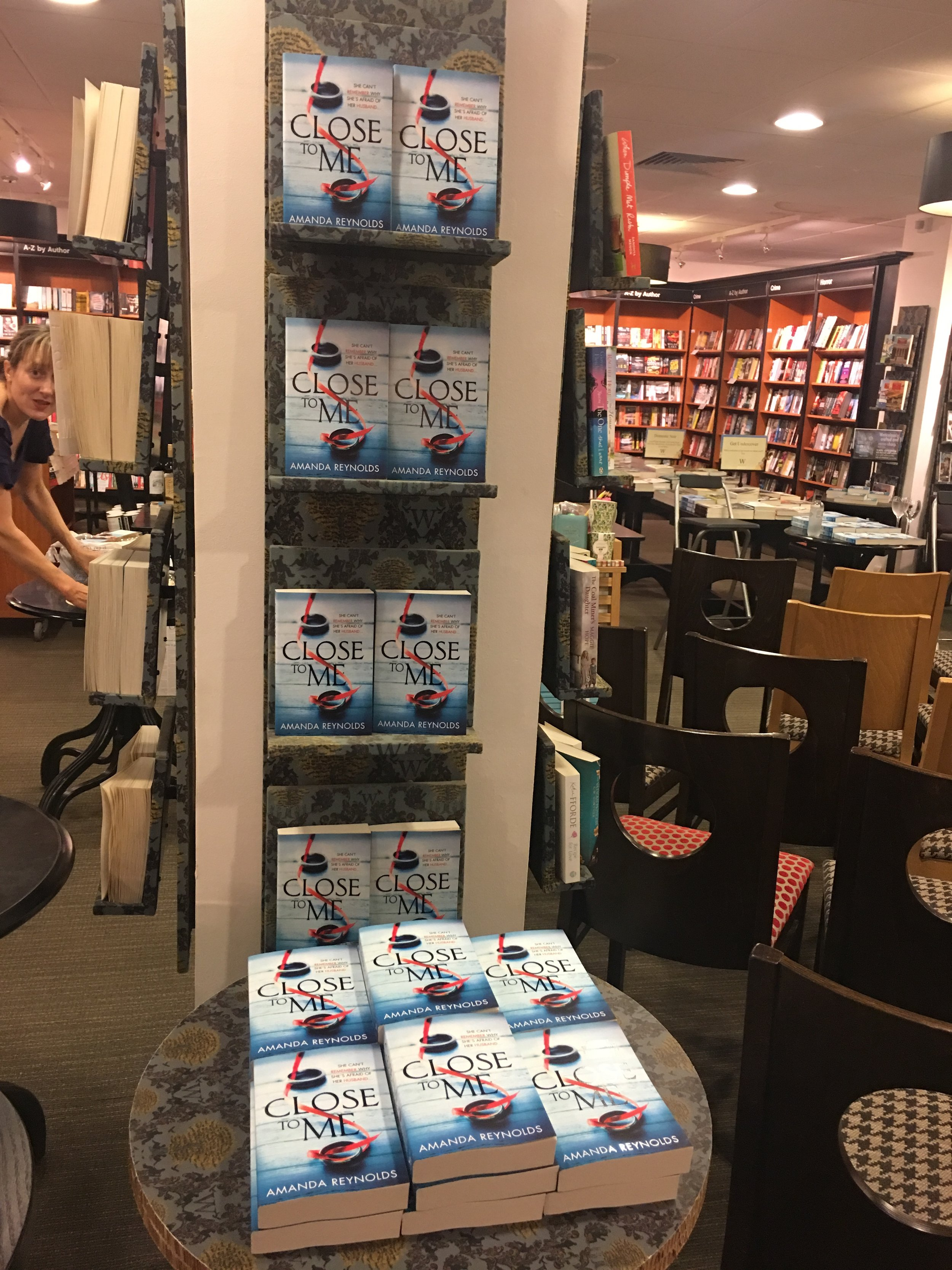 The thrill of seeing a display of my books in Waterstones