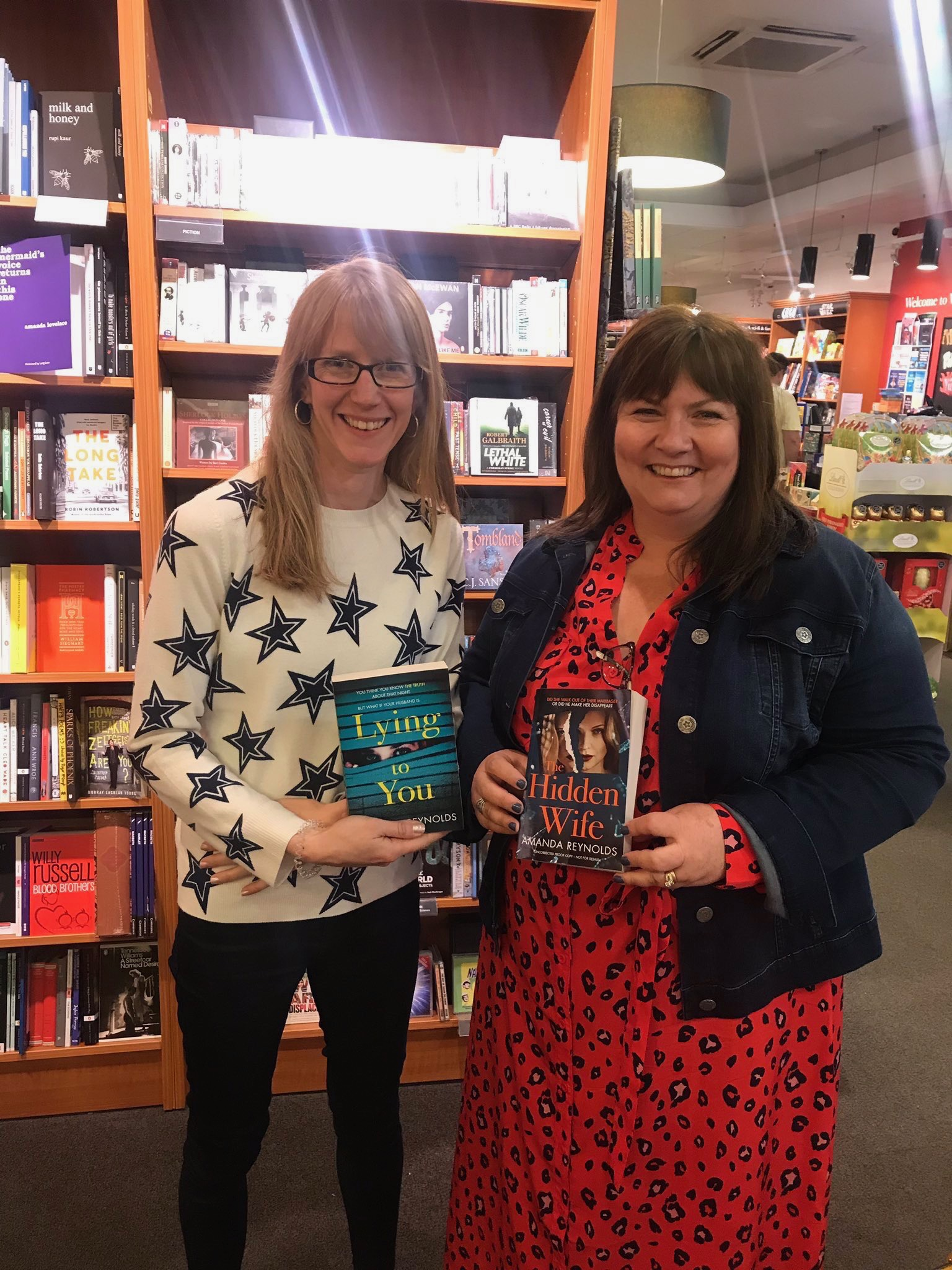 Me with Danielle at Waterstones Gloucester when I dropped in a proof copy of my latest book - THE HIDDEN WIFE