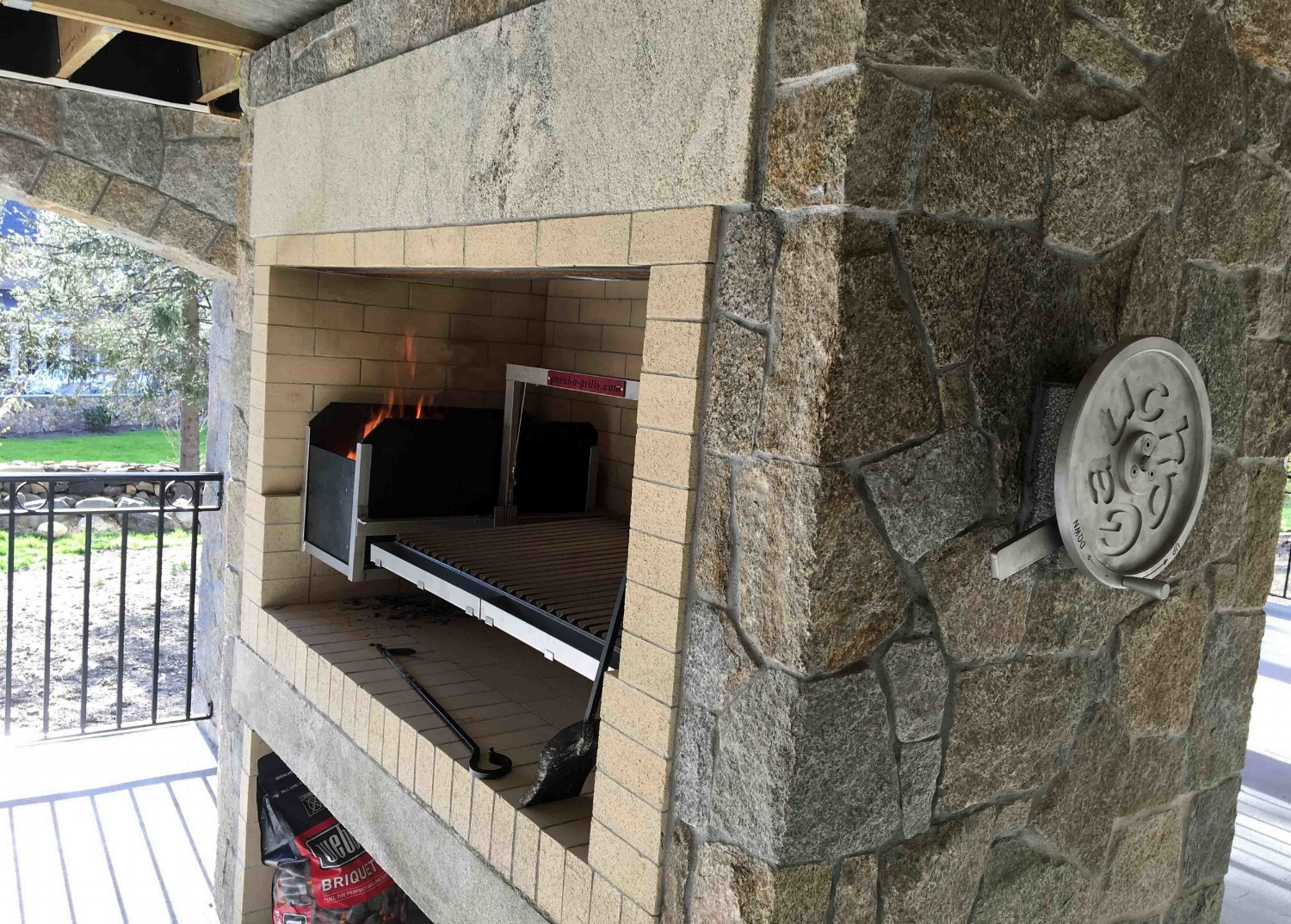 - Fireplace Installation with Crank Wheel Thru-Wall Extension