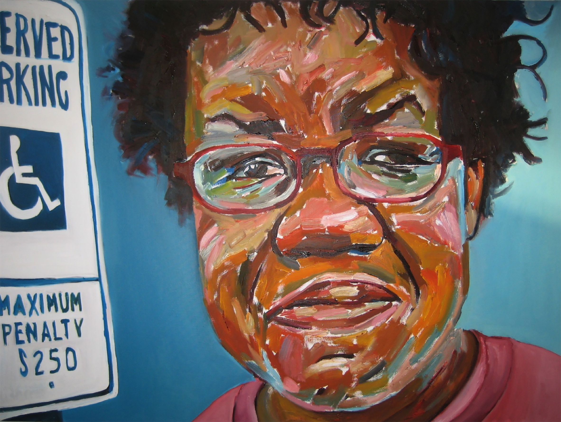 """""""Renee with Handicap SIgn""""Painting by Beverly Mciver, photo by libby o'daniel"""